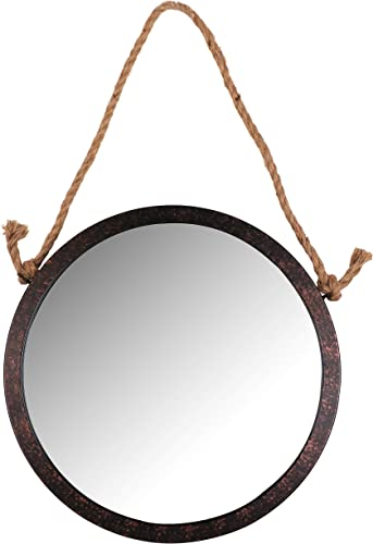Framed Decorative 15 Diameter Round Rope Hanging Mirror Rustic Brown Vanity,Hallway,Bathroom, Bedroom Medium Mirror Round Circle