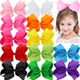 BIG 8 Inches Hair Bows For Girls Grosgrain Boutique Hair Bow Clips For Teens Kids Toddlers 12 Pcs