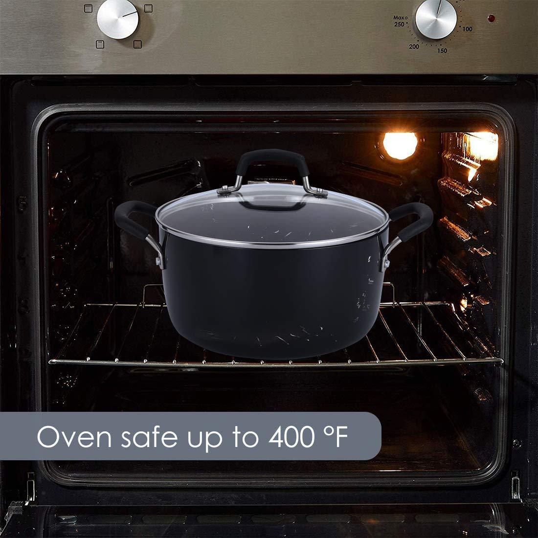 Classic Brights Hard Enamel Aluminum Nonstick Stockpot Blue Dishwasher Safe Casserole Momscook Stockpot 5-Quart Covered Dutch Oven