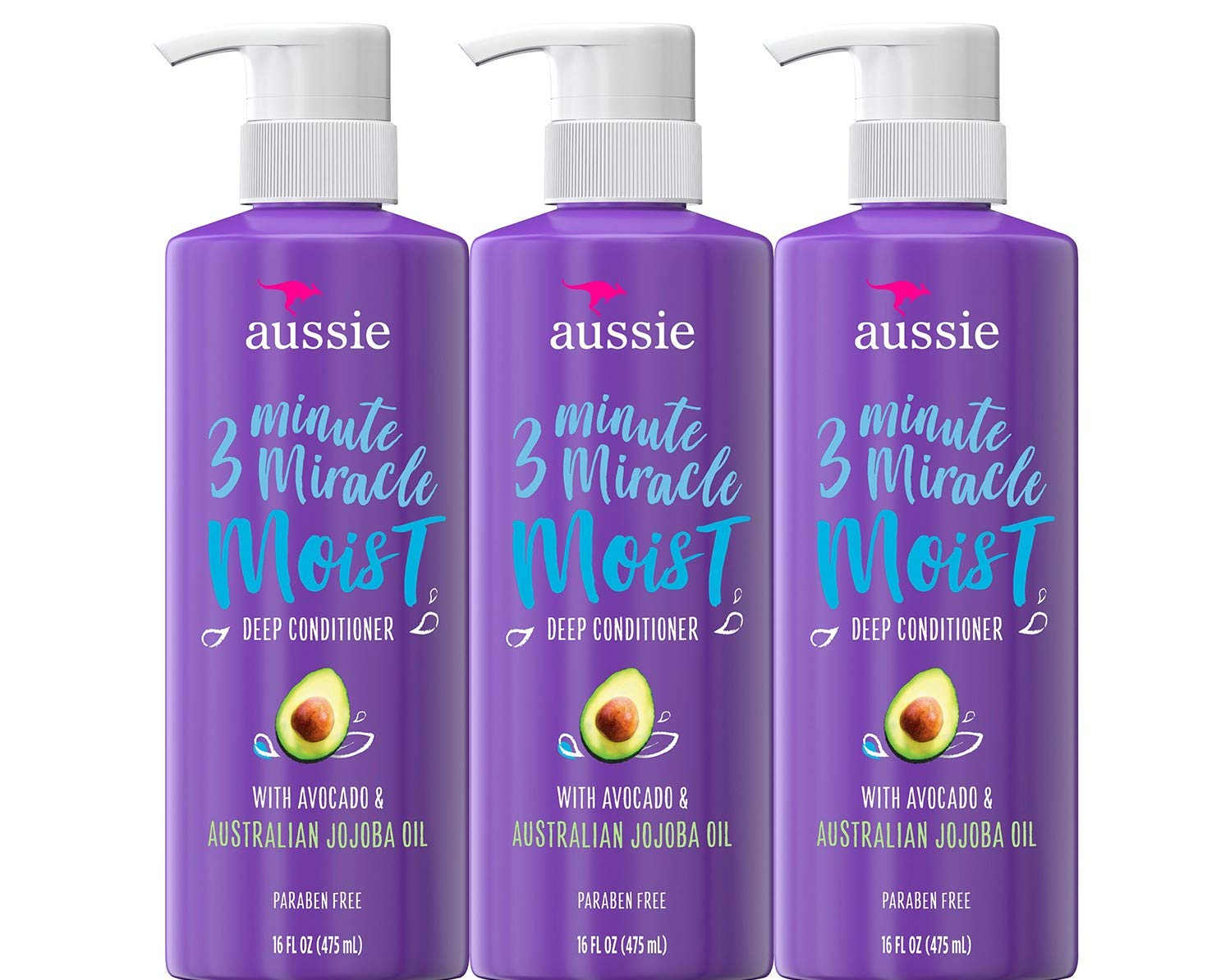 Aussie Deep Conditioner, with Avocado. Paraben Free, 3 Minute Miracle Moist, For Dry Hair, 16 Fl Oz, Triple Pack