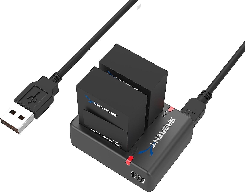 Sabrent Juego de 2 Paquete de batería con cargador de batería dual para GoPro HERO4 [AHDBT-401, AHBBP-401] (GP-KTH4)