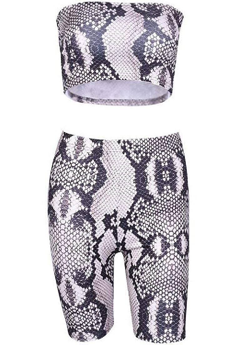 Fubotevic Womens Strapless 2 PCS Outfits Club Snakeskin Print Crop Top and Shorts Set