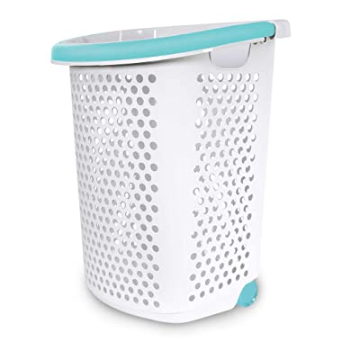 Home Logic 2.0-Bu. Rolling Laundry Hamper Container Bin Storage in White Features Pop-Up Handle, Hole Pattern for Ventilation, Built-in Wheels to Maneuver