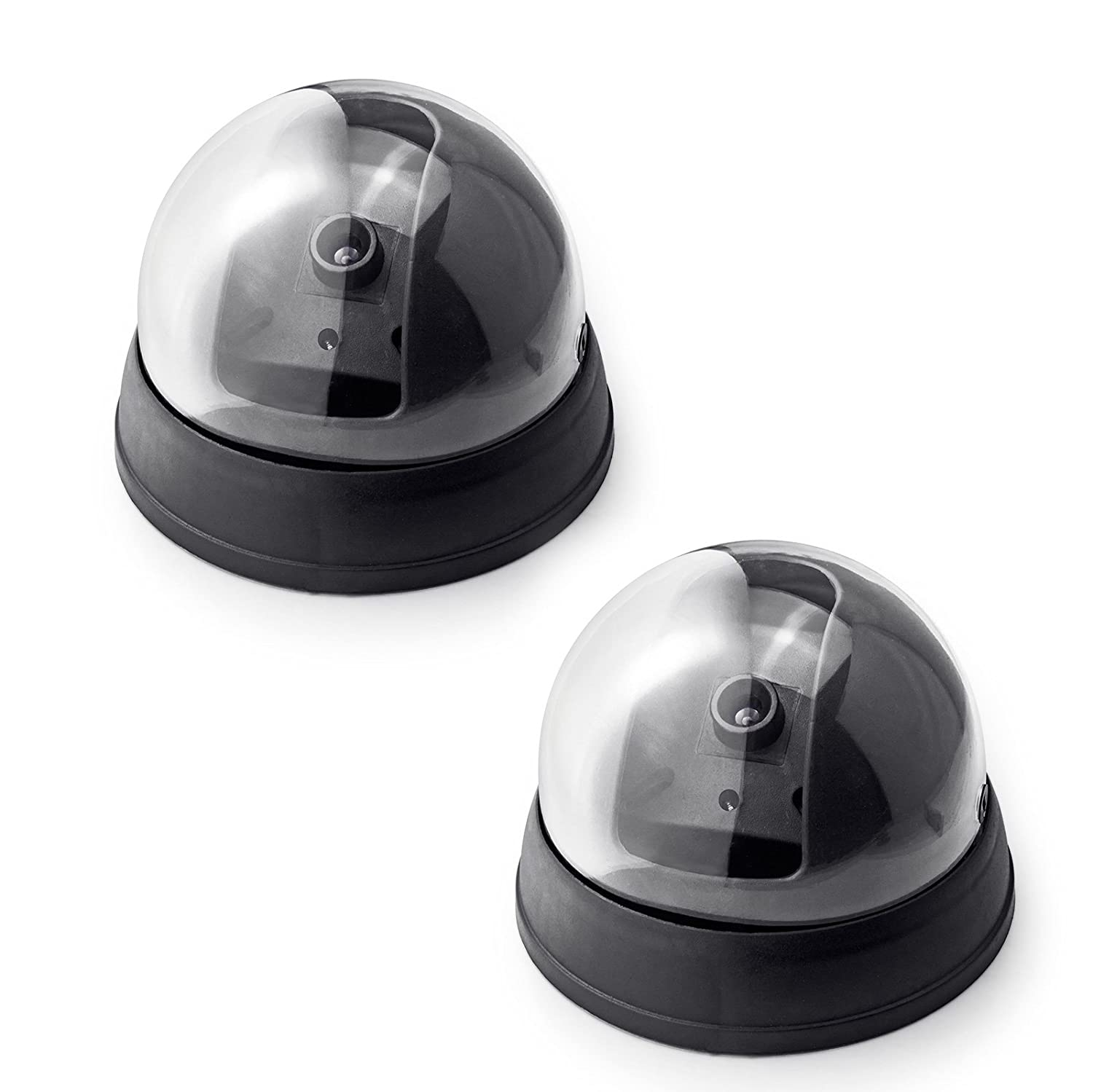 Fake Security Camera,Fuers Simulation Dummy Hemisphere Dome Camera Indoor/Outdoor Waterproof with Flashing Red LED Light and CCTV Warning Sticker for Home Business,2 Pack