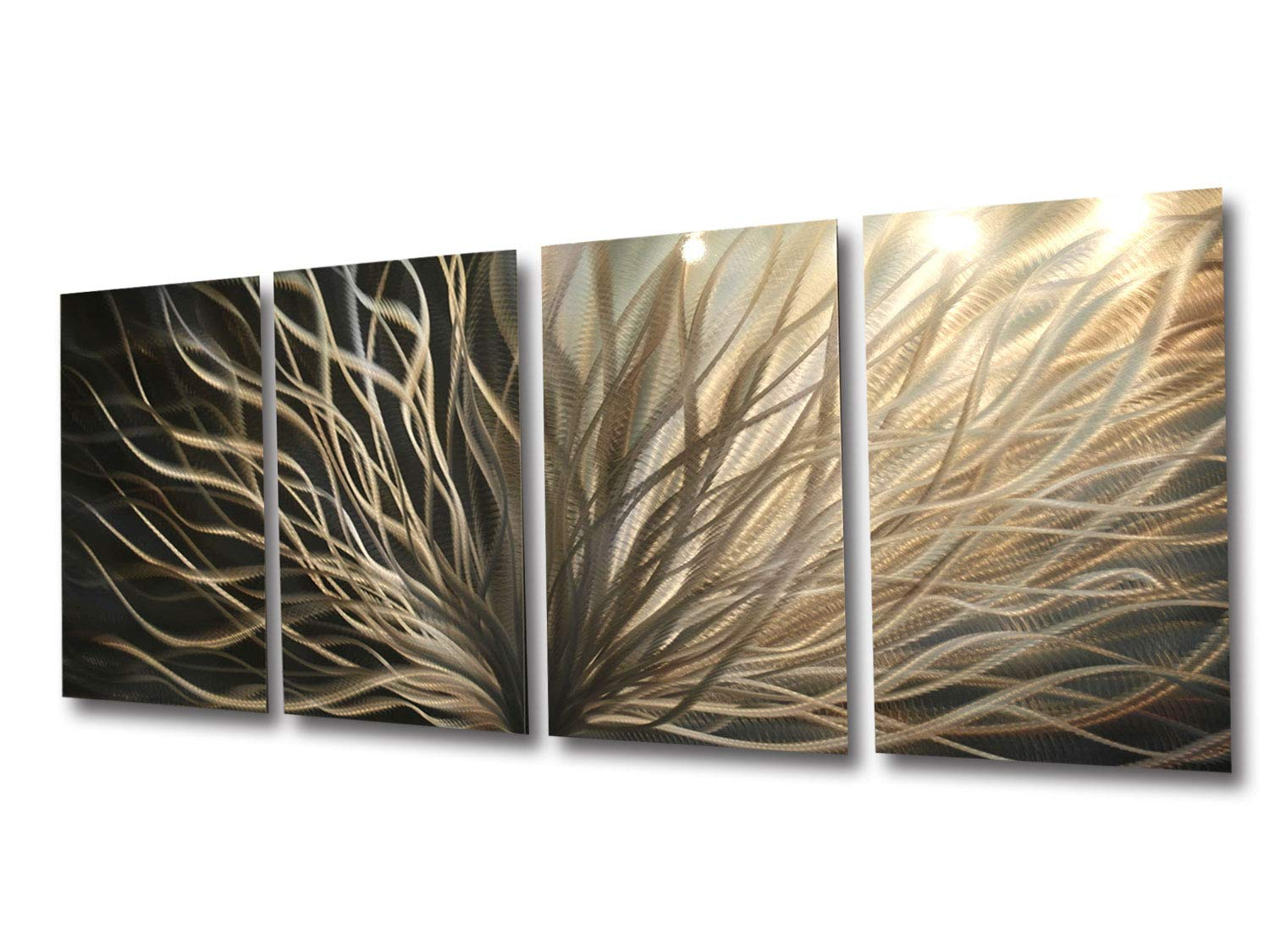 Miles Shay Metal Wall Art, Modern Home Decor, Abstract Sculpture Contemporary- Radiance Silver and Gold