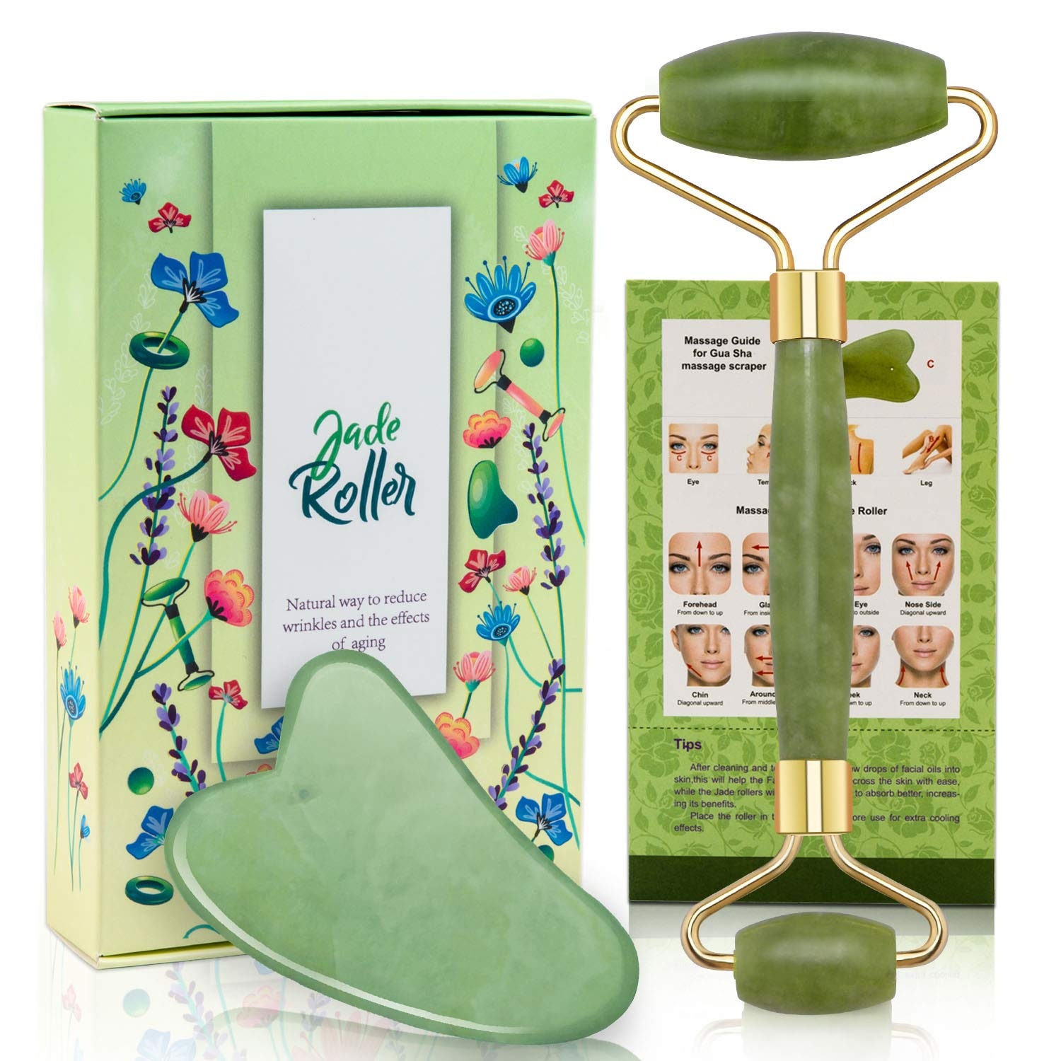Jade Roller and Gua Sha Tool Set, Natural Real Jade Roller for Face, Beauty Jade Facial Roller Massage Tool for Rejuvenate Skin, Anti-wrinkle, Anti Aging, No Squeaks, Green by Lulupaxton