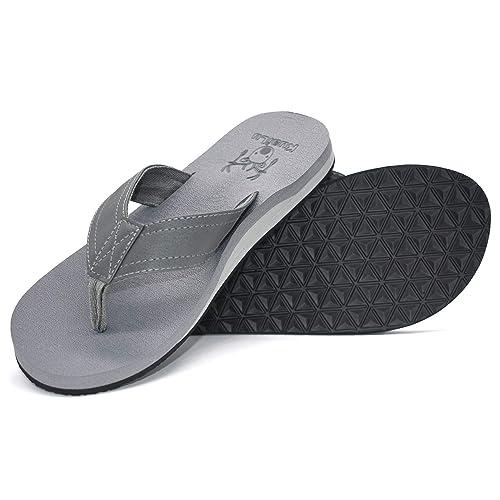 52e93125097 Image Unavailable. Image not available for. Color  KuaiLu Men s Yoga Mat  Leather Flip Flops Thong ...