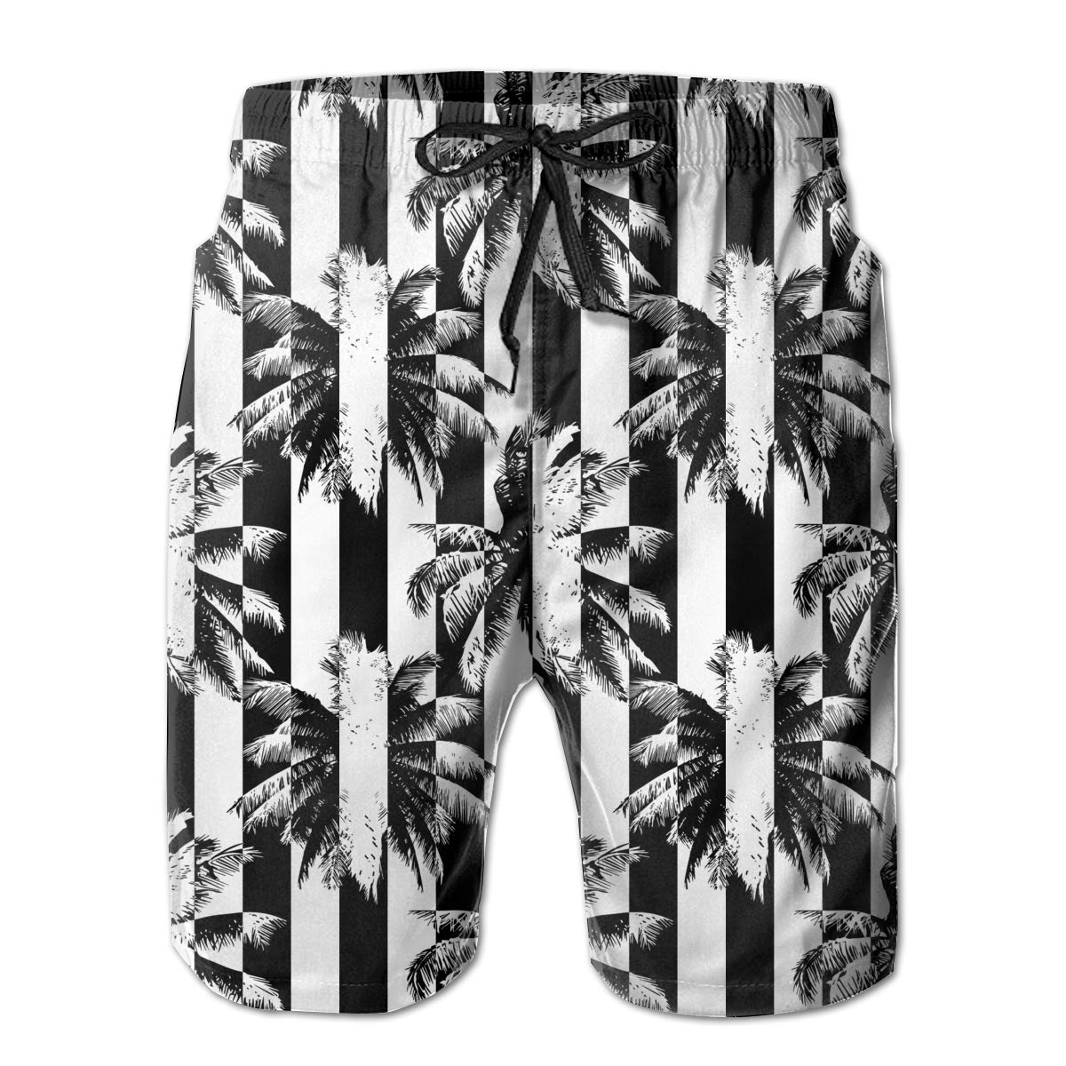 UHT28DG Tropical Abstract Palm Pattern Mens Printing Boardshorts Slim-Fit Pockets Swim Trunks