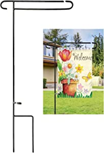 Luckupper Garden Flag Holder Stand One-Piece Heavy Duty Metal Yard Flag Pole for Outdoor Decorative Flags 12.5 X 18 Prime with Free Clip,Black