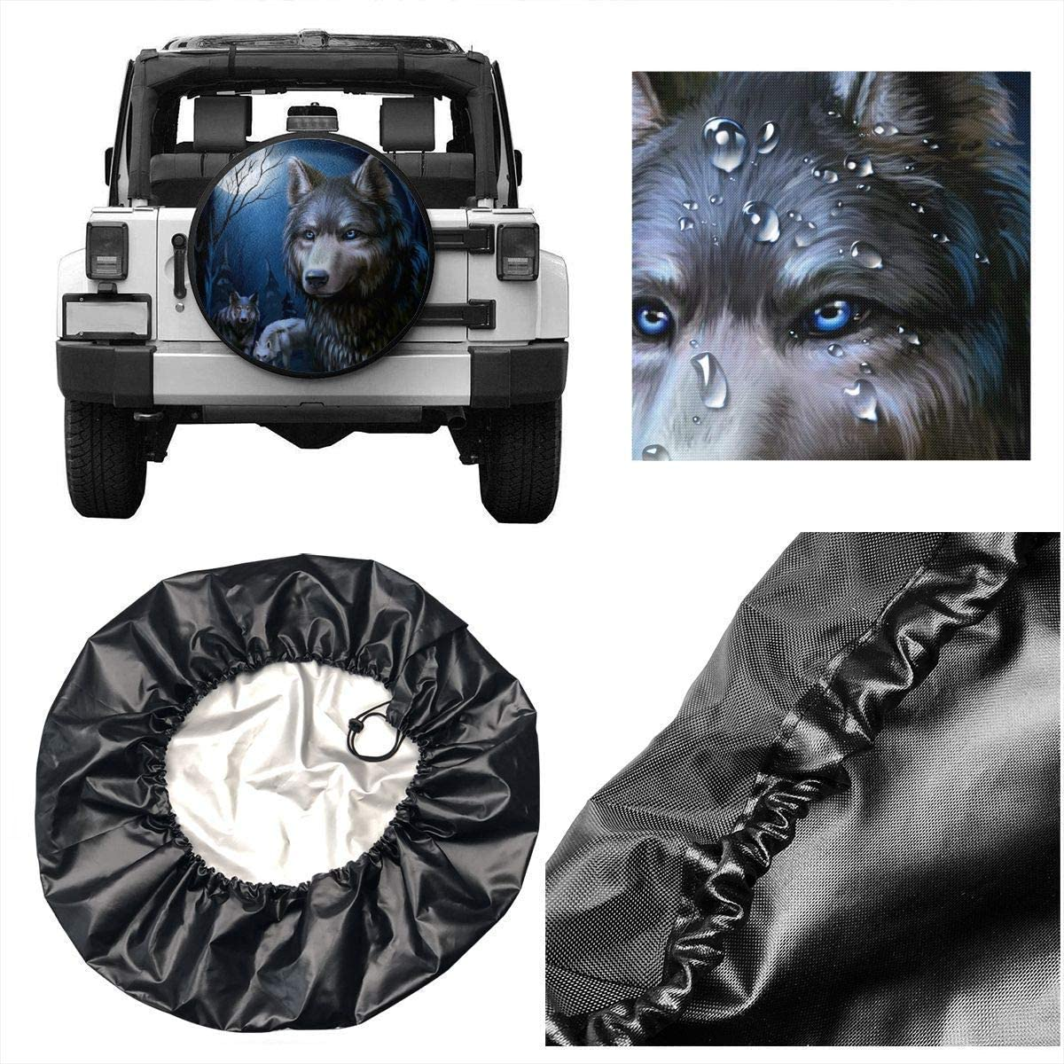 Belleeer Housse de Roue de Secours,Tire Cover Polyester Universal Spare Wheel Tire Cover Wheel Covers for Trailer RV SUV Truck Camper Travel Trailer 14,15,16,17 inch