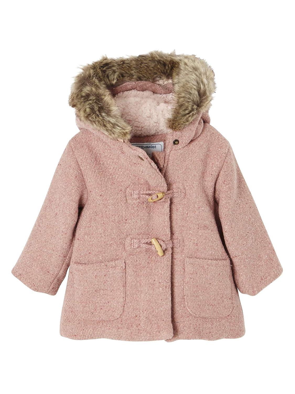 Vertbaudet Manteau laineux bébé Fille doublé Fourrure