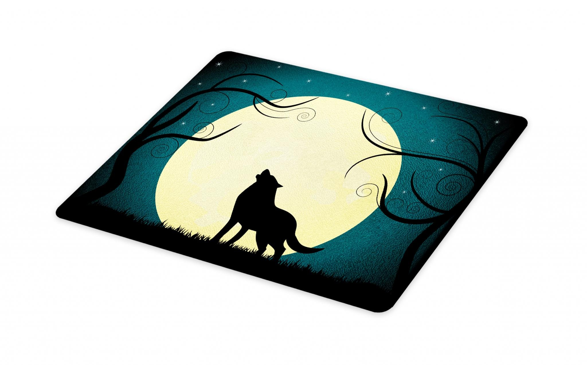 Lunarable Crying Wolf Cutting Board, Animal Barking at the Moon in a Fantastic Forest with Swirled Trees, Decorative Tempered Glass Cutting and Serving Board, Large Size, Teal Cream and Black