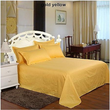 Sábana de Cama 100% satén de algodón, sábana de Hotel, sábana encimera, tamaño Individual, matrimonial, King, Oro Amarillo, 2pcs Pillowcase: Amazon.es: Hogar
