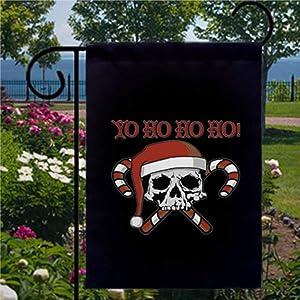 BYRON HOYLE Yo Ho Ho Pirate Skull Santa Garden Flag Decorative Holiday Seasonal Outdoor Weather Resistant Double Sided Print Farmhouse Flag Yard Patio Lawn Garden Decoration 12 x 18 Inch