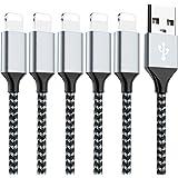 ライトニングケーブル 【5本セット1m+1m+2m+2m+3m】USB充電&同期 高耐久性 断線防止 lightingケーブル 柔軟性 コンパクトiPhone 11/XS Max/XR/X/XS/8/7/8Plus/7 Plus/6/6S/6/5/SE/iPad/iPod 対応 シルバー?ホワイト