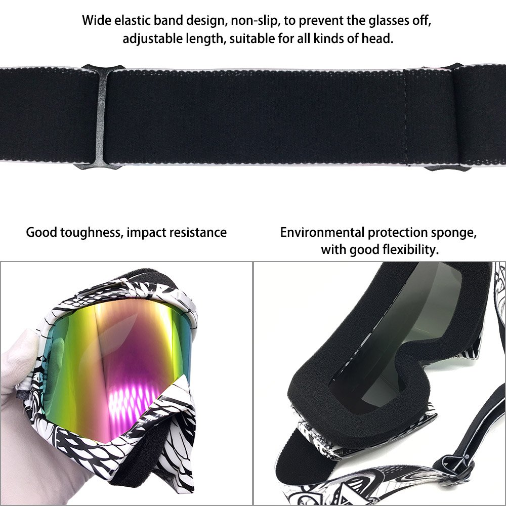Zdatt Bendable Snow Skiing Snowboarding Goggles,Unisex Motocross Sports Snowmobile Snowboard Ski Goggles Anti Fog Dust UV, Dustproof Scratch-Resistant by ZDATT (Image #5)