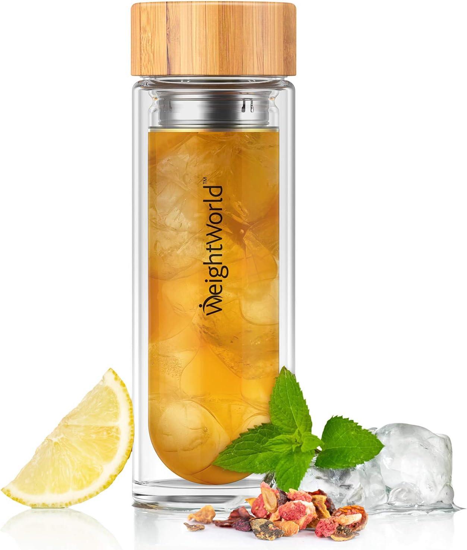 Botella Termo para Infusiones de Té con Filtro de Agua | 400ml de Té | Doble Capa de Vidrio con Tapa de Bambú | Diseño Hermético Portátil Sin BPA | Para su dieta Detox Adelgazante | WeightWorld