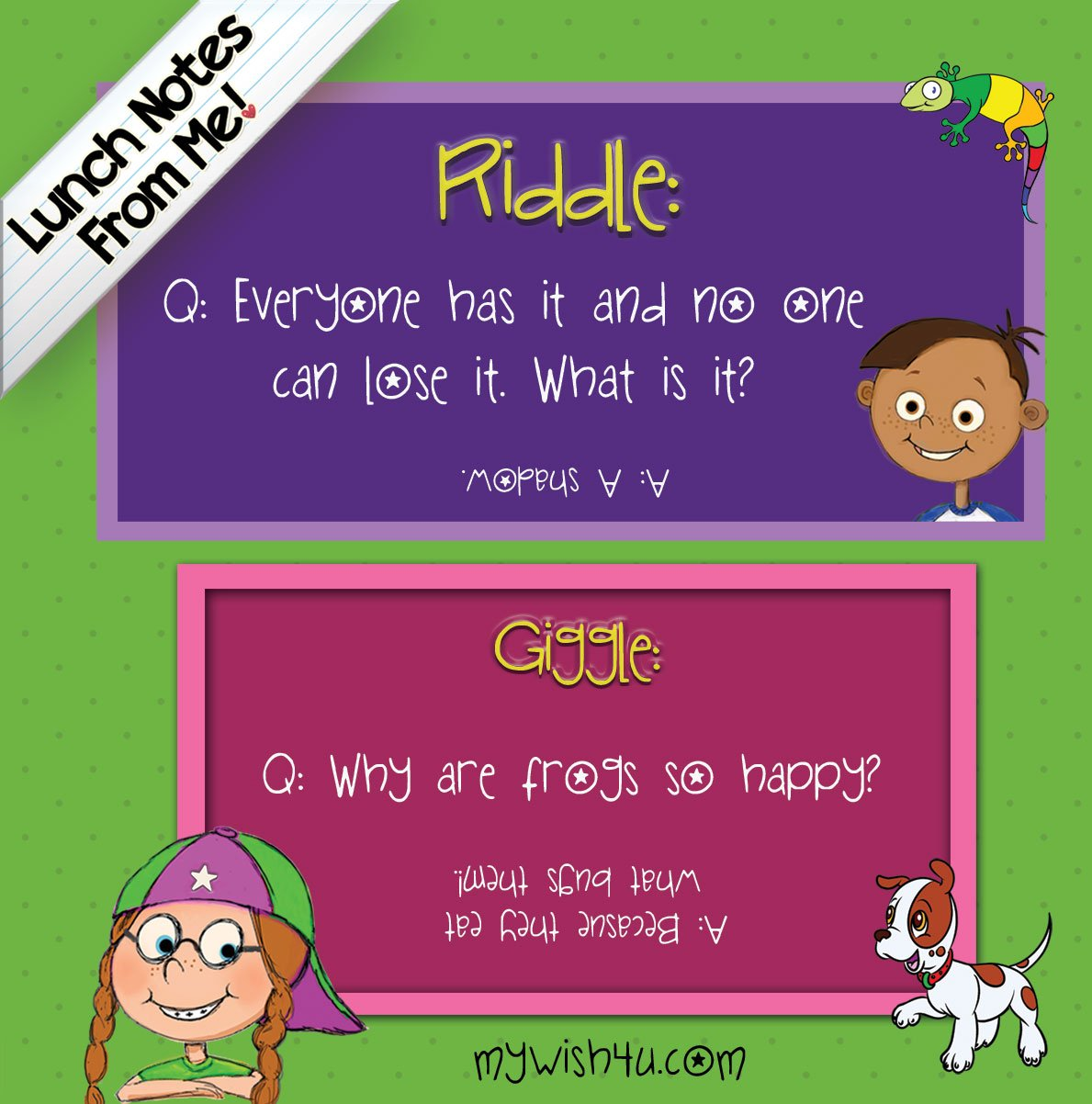 Lunch Notes From Me! Riddles & Giggles - 101 tear-off lunchbox notes ...