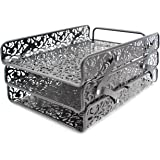 EasyPAG 3 Tier Desk Letter Tray Carved Hollow Flower Pattern Design Triple Letter Tray ,Black