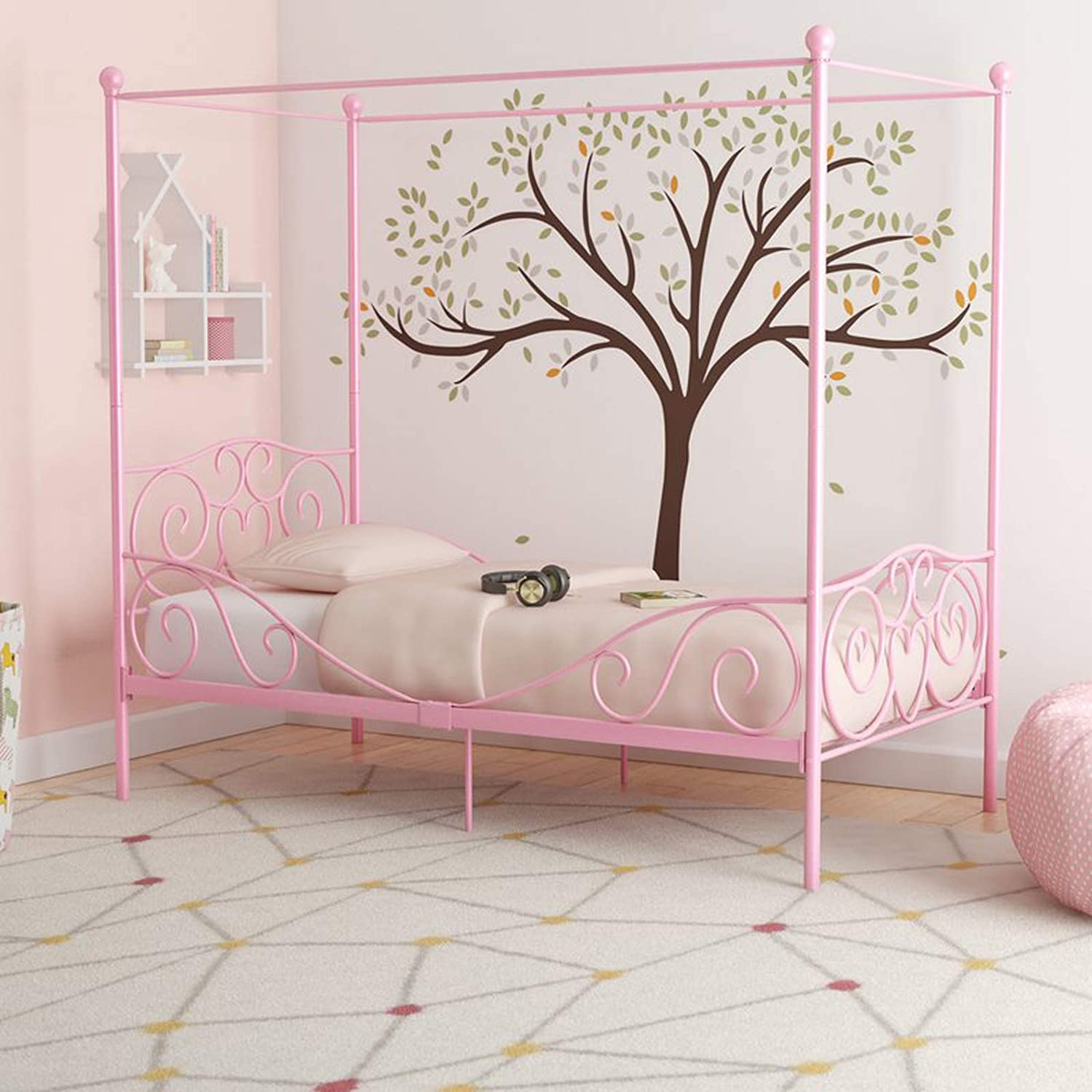 Amazon.com: Simple Interior Metal Canopy Bed Frame - Modern Child ...
