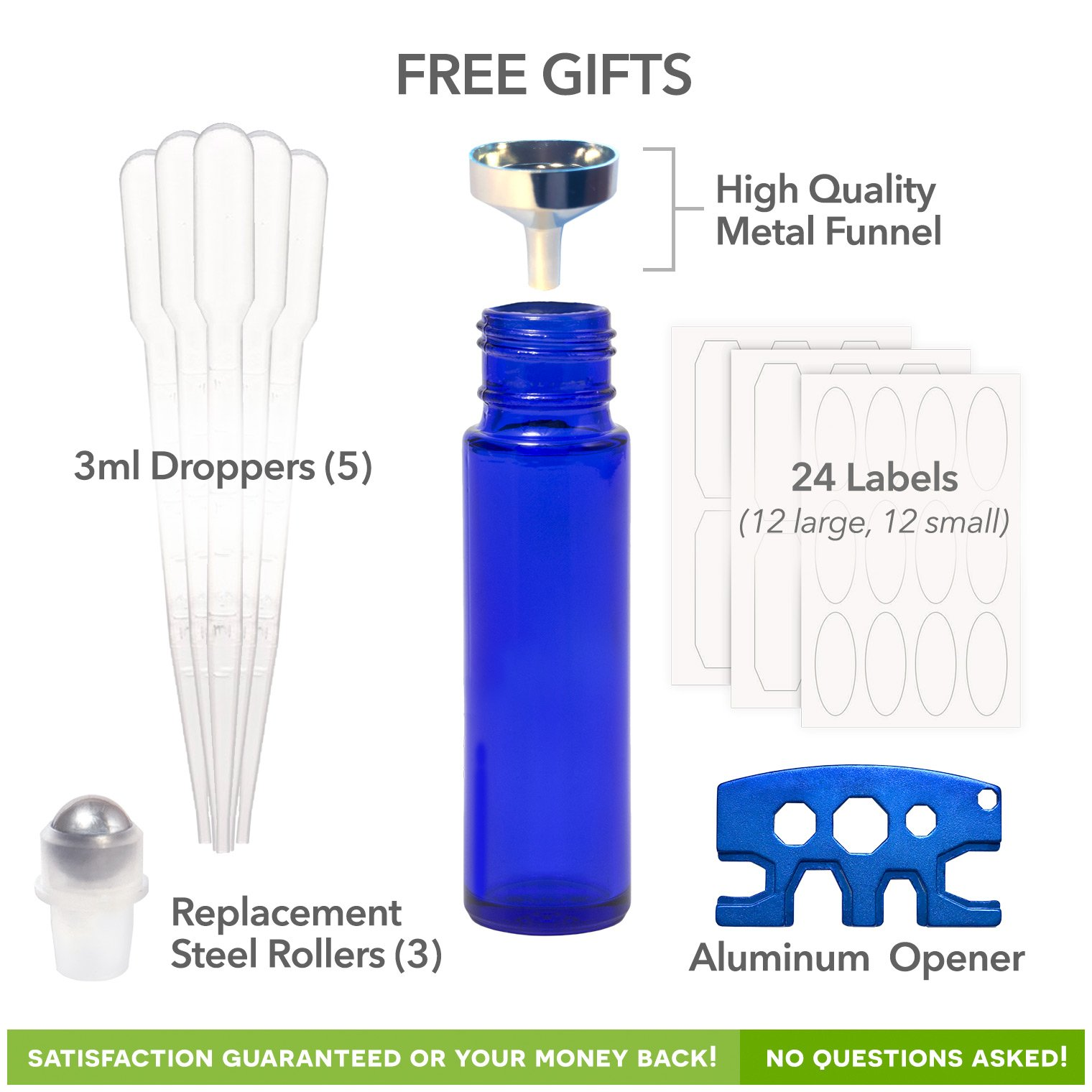 Pure Acres Farm, 12, Cobalt Blue, 10 ml Glass Roll-on Bottles with Stainless Steel Roller Balls. 3 ml Droppers included by Pure Acres Farm (Image #3)