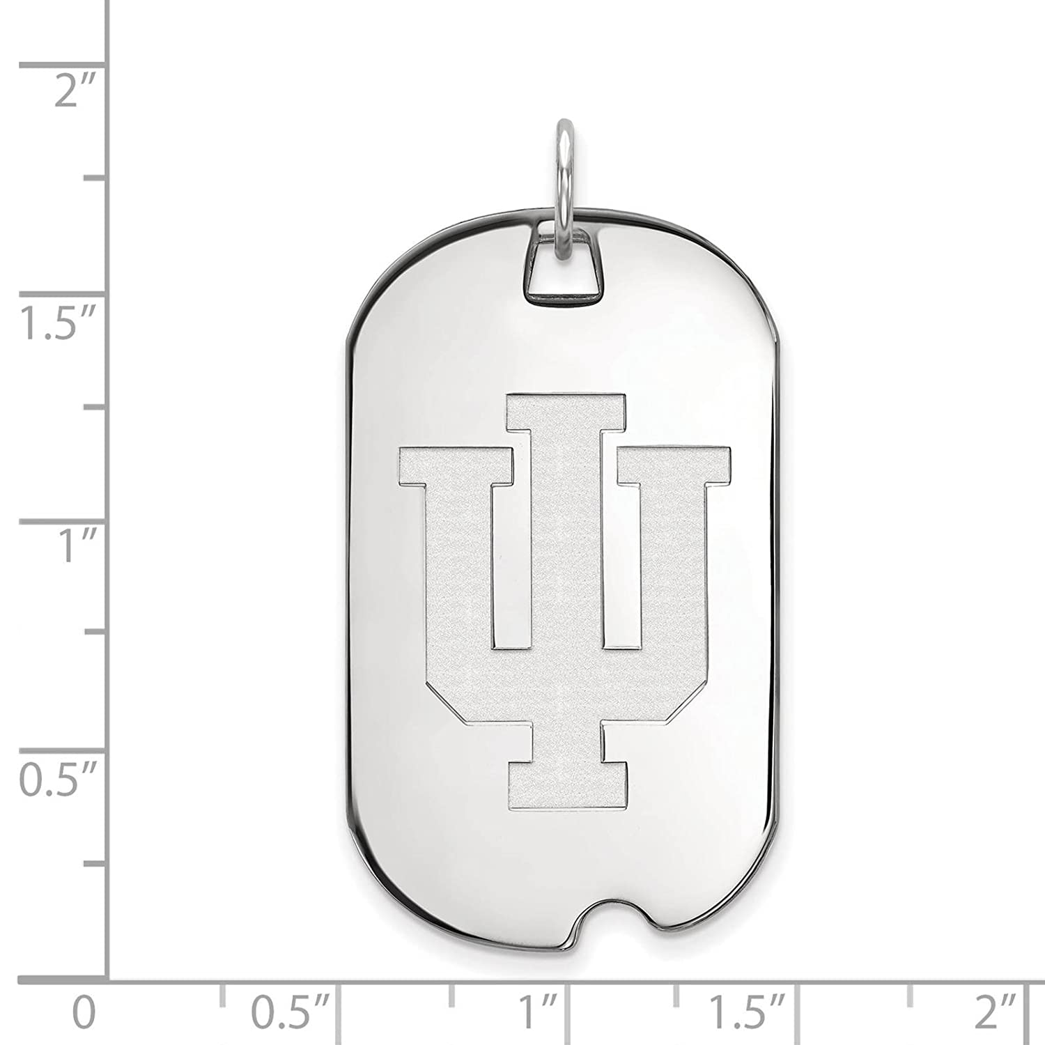 925 Sterling Silver Rhodium-plated Laser-cut Indiana University Large Dog Tag Pendant