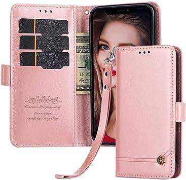 Suordii Estuche Oneplus 6T, Tapa magnética Funda con Tapa de Cuero con Tapa y Titular de Ranura para Tarjeta de crédito ID Apta para Oneplus 6T Smartphone (Oro Rosa): Amazon.es: Electrónica