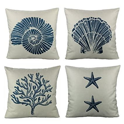 Amazon VAKADO Coastal Decorative Throw Pillow Covers Navy Blue Fascinating Coastal Throw Pillow Covers