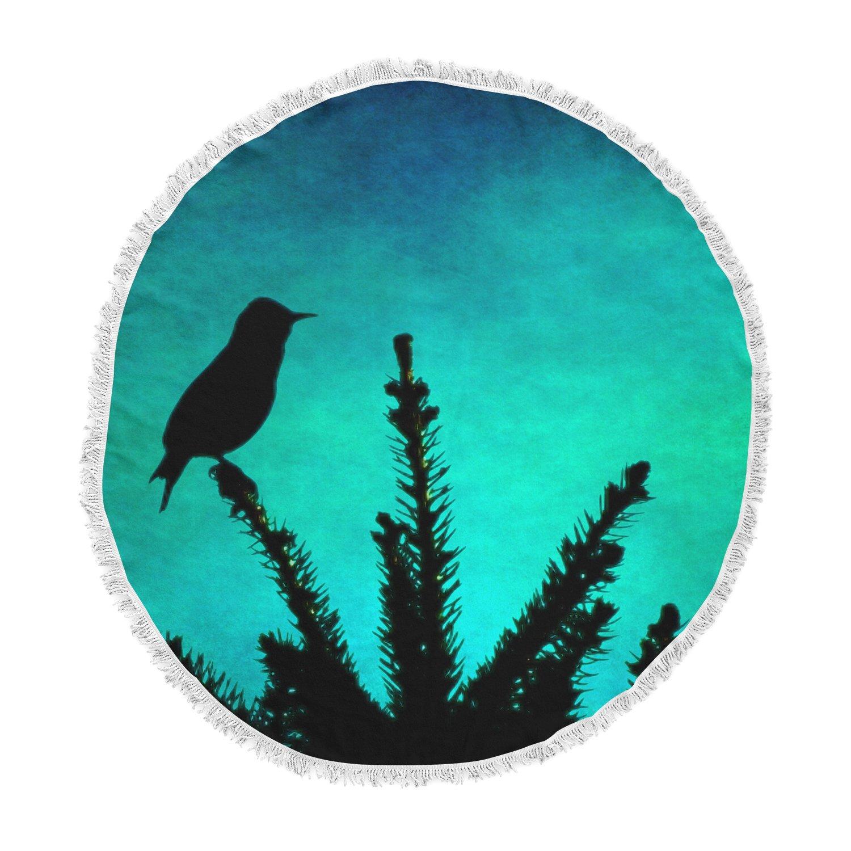 Kess InHouse Sylvia Coomes Bird Silhouette Teal Black Round Beach Towel Blanket