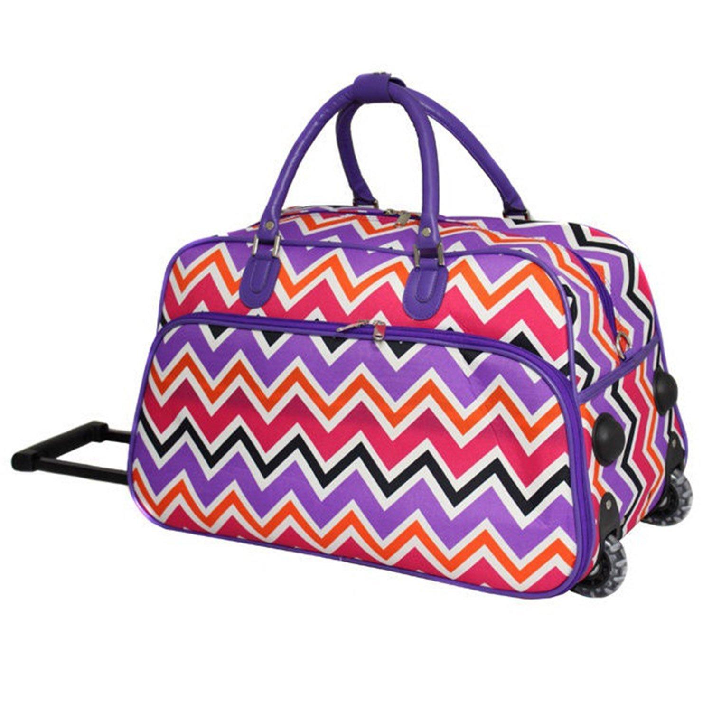 Purple Trim Lightweight Wheeled Duffle Bag Chevron Pattern Polyester