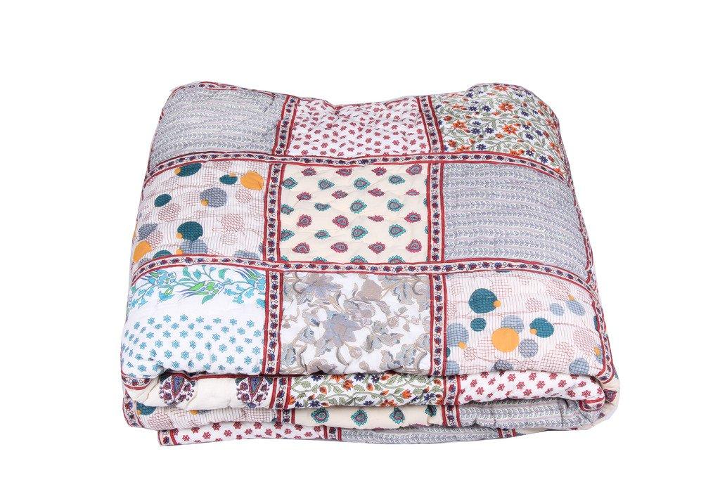 India Handmade Patchwork Jaipur King Beautiful Razai Quilt Blanket