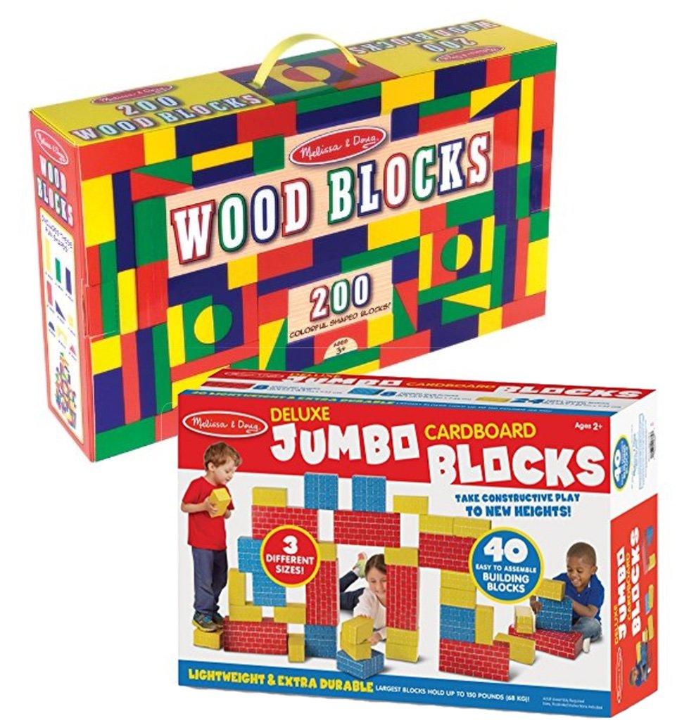 Bundle Includes 2 Items - Melissa & Doug 200 Wood Block Set and Melissa & Doug Jumbo Extra-Thick Cardboard Building Blocks - 40 Blocks in 3 Sizes