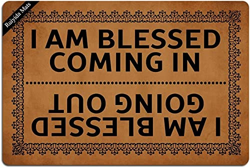 I Am Blessed Coming in and Going Out Doormat Entrance Floor Mat Funny Doormat Door Mat Decorative Indoor Outdoor Doormat Non-Woven 23.6 by 15.7 Inch Machine Washable Fabric Top