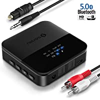 SONRU Bluetooth 5.0 Audio Adapter, Bluetooth Transmitter Empfänger für TV Laptop Stereoanlage Kopfhörer Lautsprecher, TOSLINK/RCA/AUX Kabel, aptX HD & aptX LL, 20M Distanz, 24 Stunden Wiedergabezeit