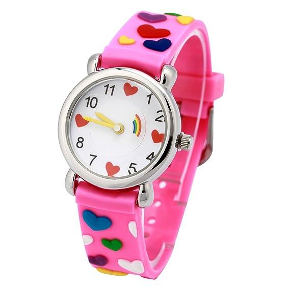 El Reloj de Niños de Vinmori, Reloj de Cuarzo con Dibujos Animados Bonitos de 3D a Prueba de Agua Regalo para Chicos Niños y Niñas Loves Pink: Amazon.es: ...