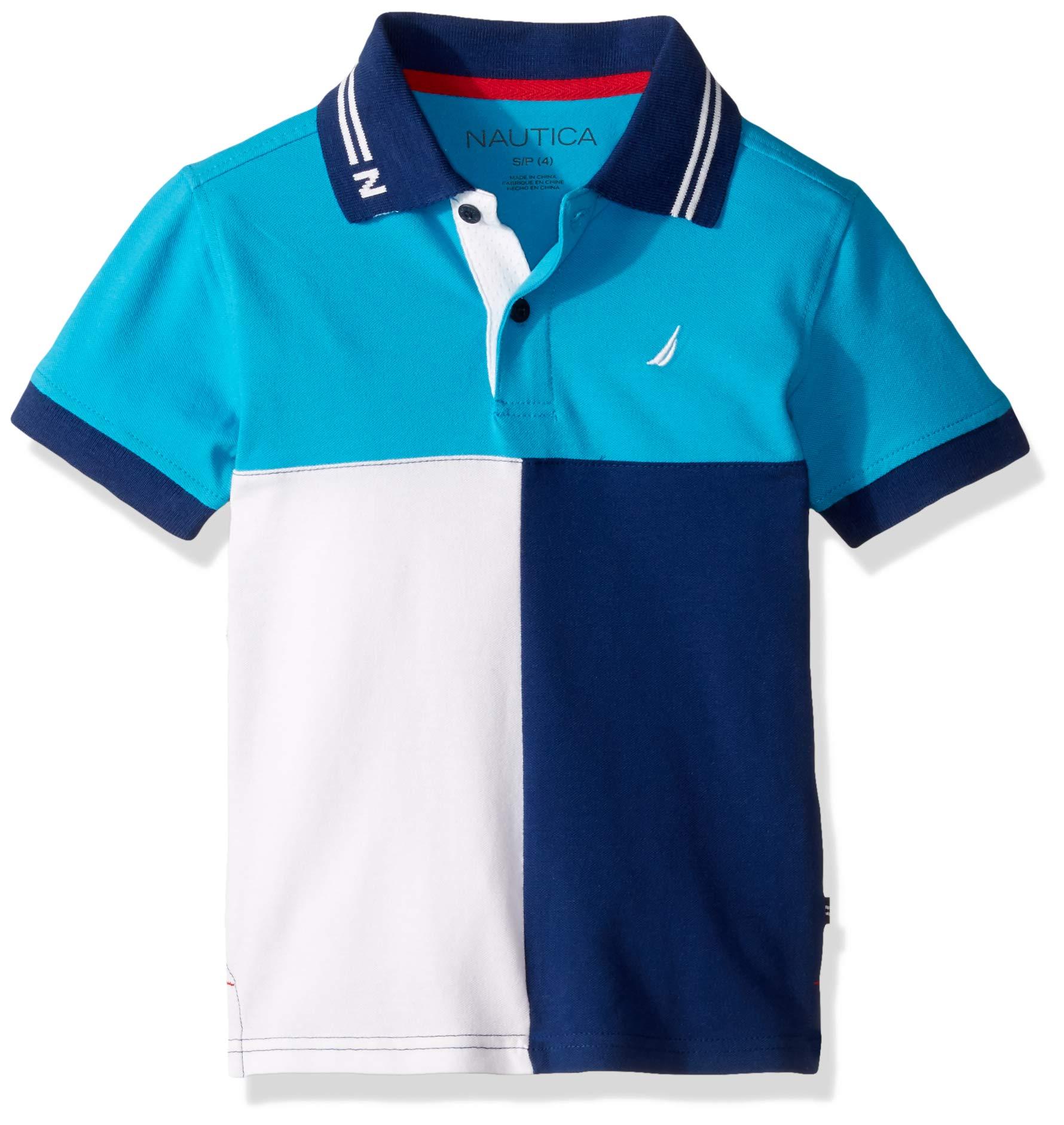 Nautica Big Boys' Short Sleeve Heritage Polo Shirt, Captain Ocean, Large (14/16)