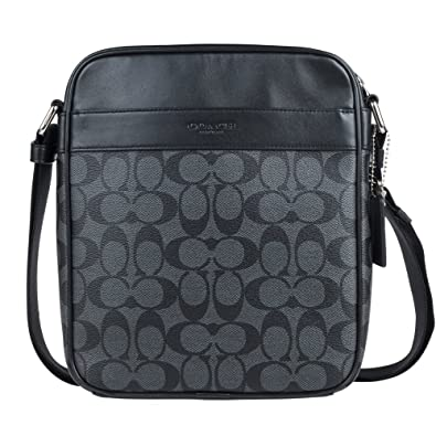 de5c0ca13 ... hot coach mens flight bag in signature pvc charcoal black 3329 fef12  69927