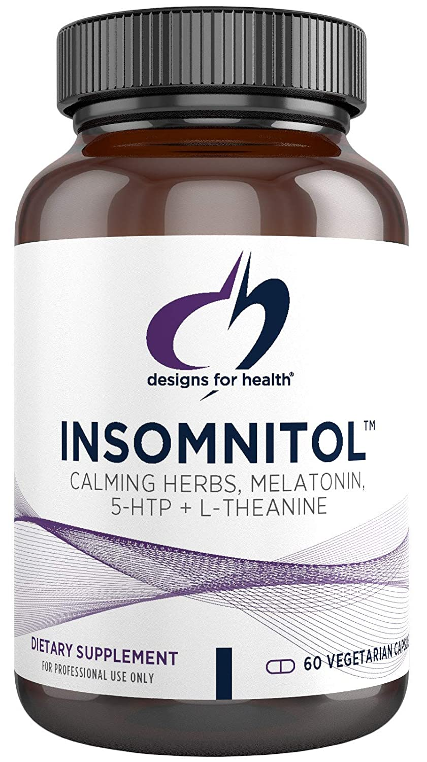 Designs for Health Insomnitol Capsules - Valerian, Melatonin, PharmaGABA + 5-HTP for Sleep Support (60 Capsules)