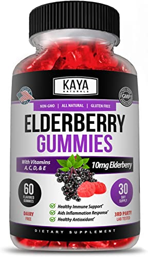 Kaya Naturals Immune Support Vegetarian Vitamin Gummy, 60 Count, Zinc, Vitamin C, Elderberry, Vitamin E, Lemon Flavor 60 Gummies