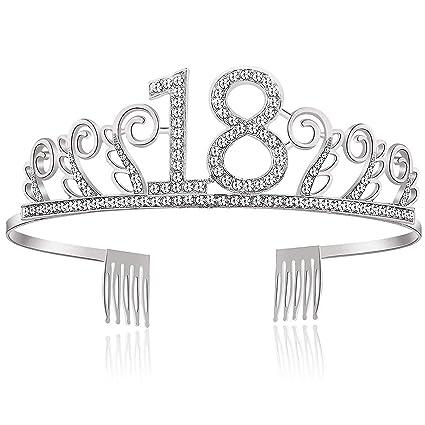 Wolintek Feliz Cumpleaños 18TH, 18TH Plata Cristal Tiara Corona de Cumpleaños, Regalo de 18 Cumpleaños