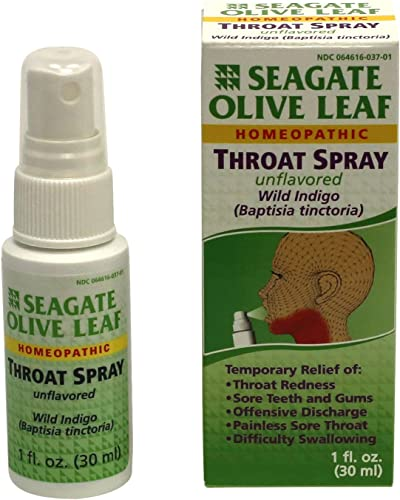 Seagate Products Homeopathic Olive Leaf Unflavored Throat Spray Pack of 1 1 Ounce