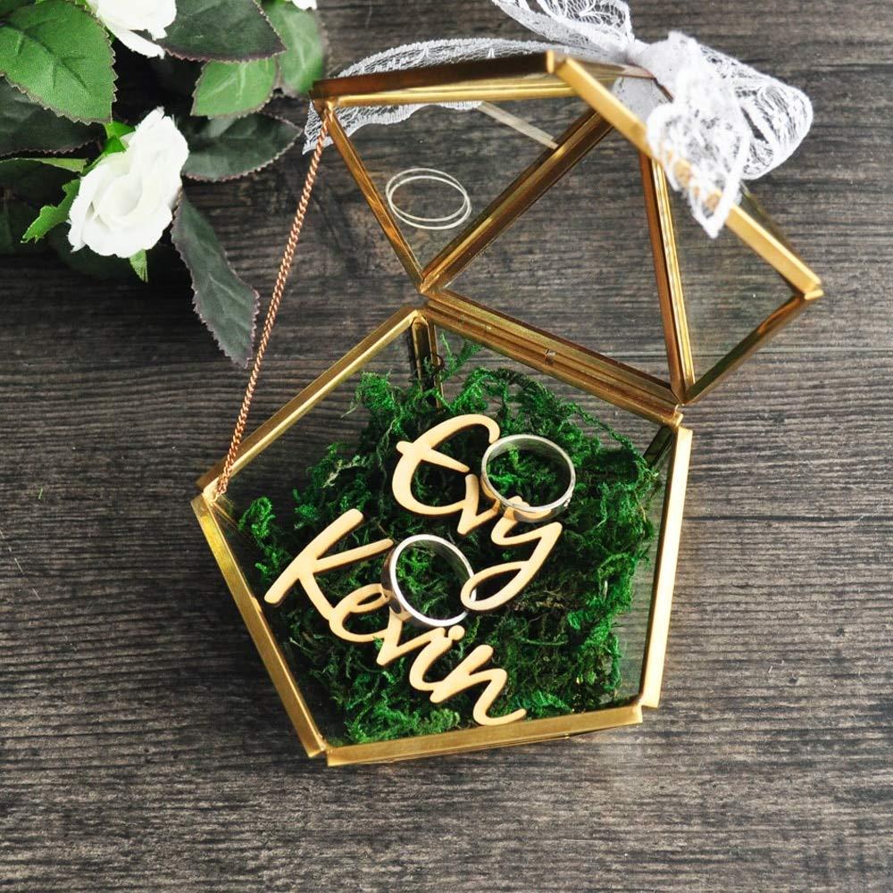 Wedding Ring Box Personalized Pentagon Box Ring Bearer Pillow Rustic Wedding Ring Holder Box Proposal Engagement Gift