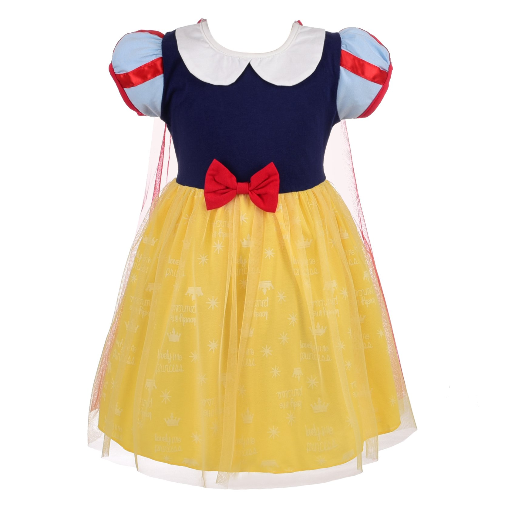Dressy Daisy Princess Snow White Dress for Little Girls with Cape Halloween Fancy Party Costume Dress Size 5