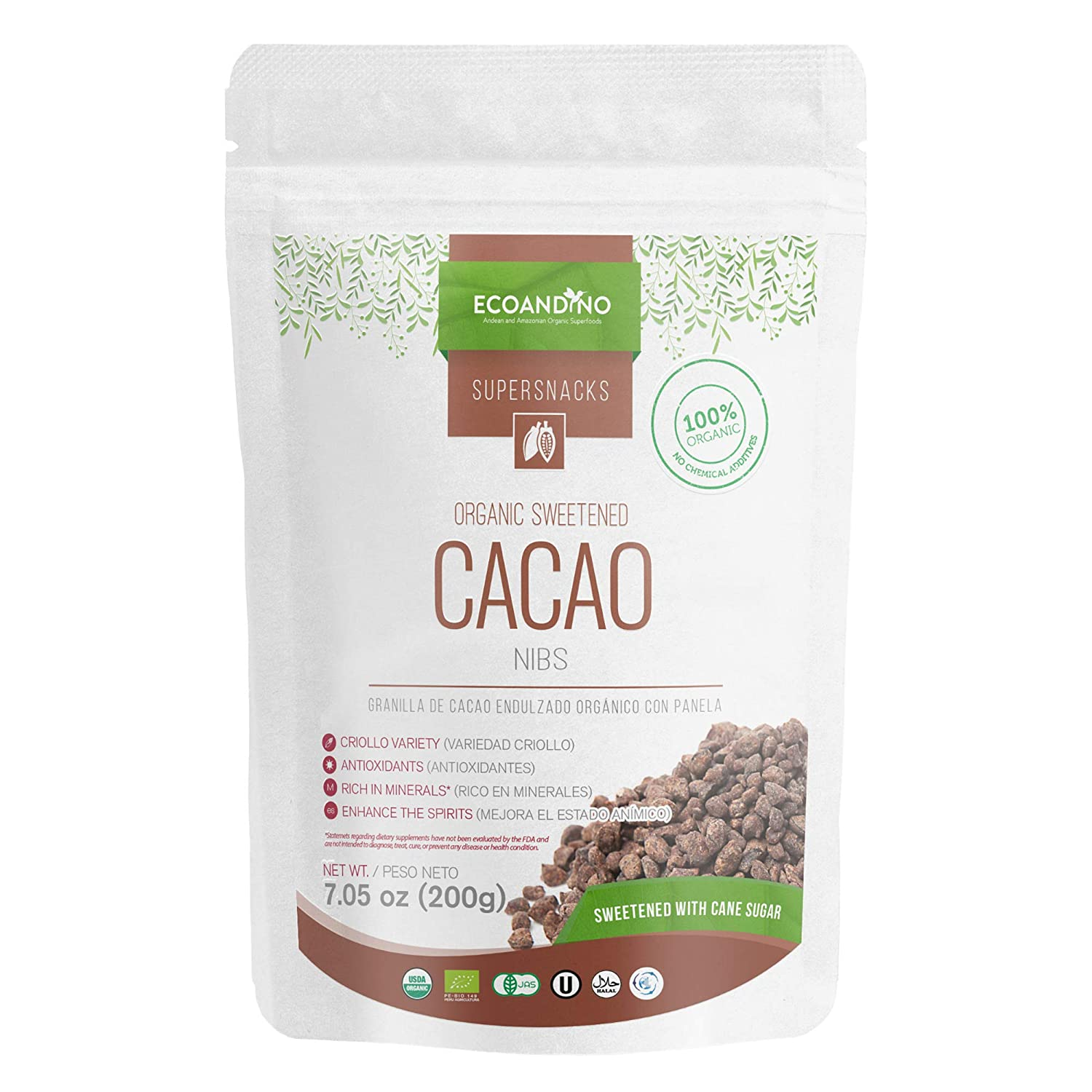 Amazon.com : Ecoandino Organic Sweetened Cacao Nibs 7.05 oz (200 grams) (Pack of 3 with a Total of 21 .15 oz (1 lb 5 oz) in 3 independent Resealable Doypack ...