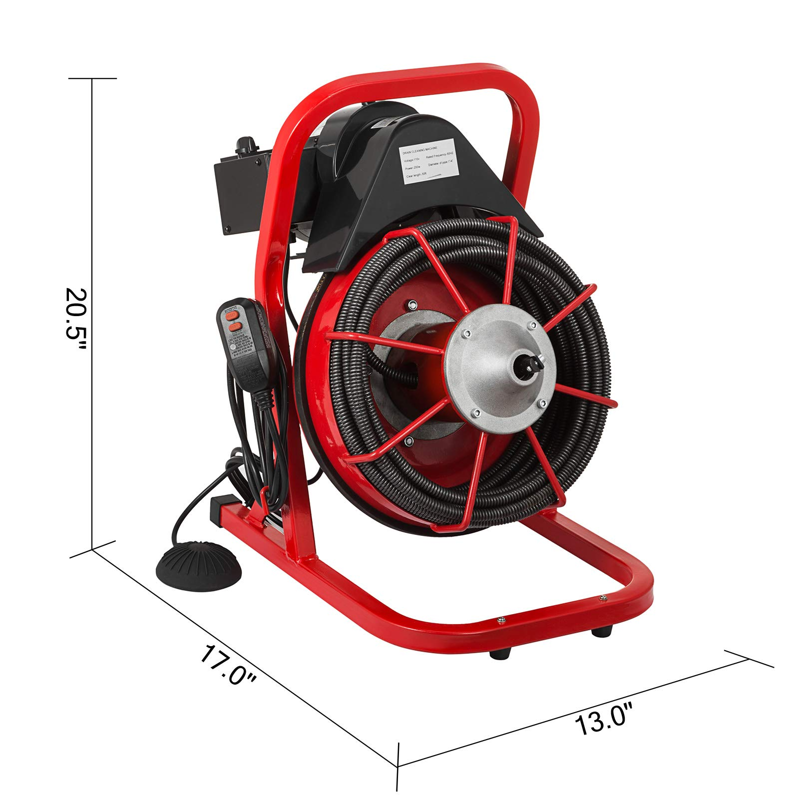 VEVOR 50 Ft x 1/2 Inch Drain Cleaner Machine Best fit 1''(25mm) to 4''(100mm) Pipes Drain Cleaning Machine Portable Drain Auger Cleaner with 4 Cutters Electric Drain Auger Plumbing Tool (50Ft x 1/2In) by VEVOR (Image #8)
