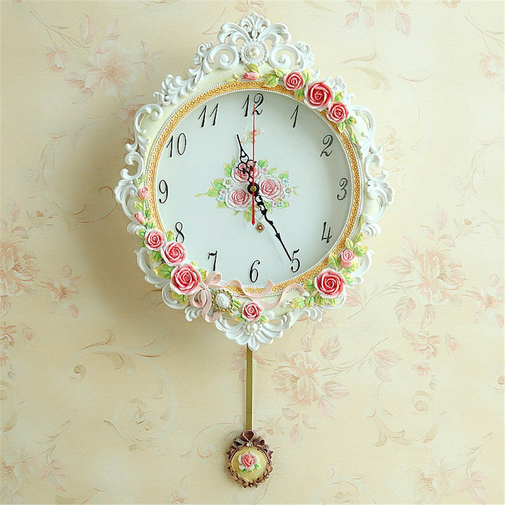 RFVBNM Classic european style creative living room wall clock bedroom mute round watches minimalist personality clock quartz clock 14 inch