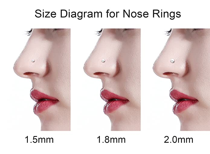 Fystir 120pcs 22g Small Nose Rings Studs Piercings Jewelry Stainless