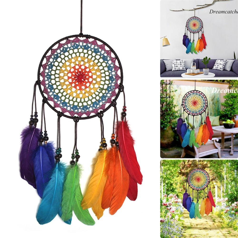 Ornamenti Fatti a Mano campanelli eolici Arcobaleno Decorazioni per la casa di Nozze lennonsi Dreamcatcher con Piume Appeso Ornamento