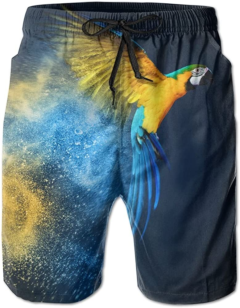 DELIDAA Bird Blue-and-Yellow Macaw Macaw Parrot Men Boy Casual Quick-Drying Beach Pant Swim Board Shorts