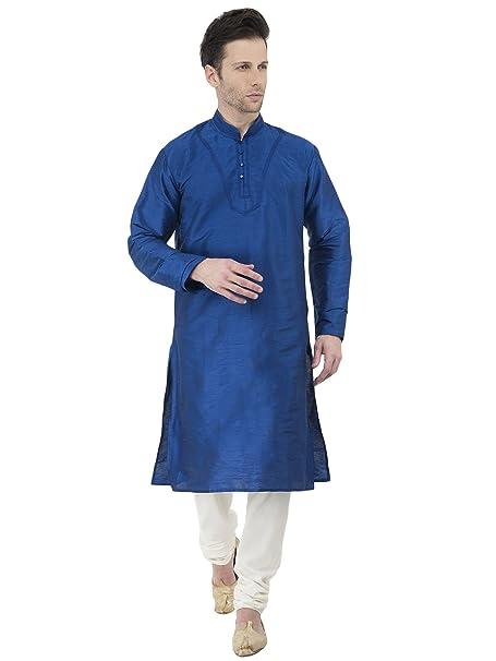 Kurta Boda Pijama para Hombres Azul Manga Larga botón Abajo Camiseta Desgaste étnico Indio -m